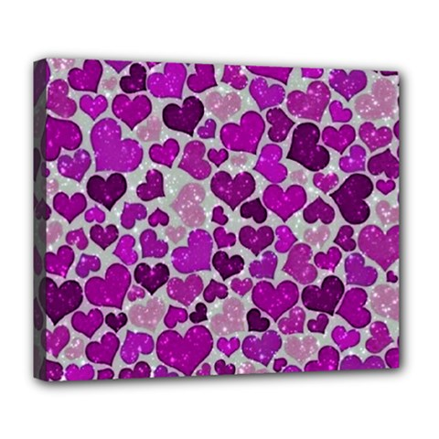 Sparkling Hearts Purple Deluxe Canvas 24  x 20