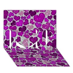 Sparkling Hearts Purple I Love You 3D Greeting Card (7x5)