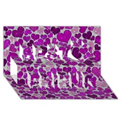Sparkling Hearts Purple Best Friends 3D Greeting Card (8x4)