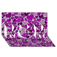 Sparkling Hearts Purple MOM 3D Greeting Card (8x4)