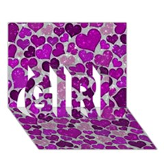 Sparkling Hearts Purple GIRL 3D Greeting Card (7x5)