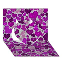 Sparkling Hearts Purple Heart 3D Greeting Card (7x5)
