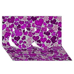 Sparkling Hearts Purple Twin Hearts 3D Greeting Card (8x4)