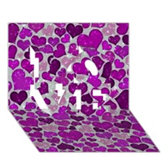 Sparkling Hearts Purple LOVE 3D Greeting Card (7x5)