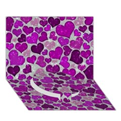 Sparkling Hearts Purple Circle Bottom 3D Greeting Card (7x5)