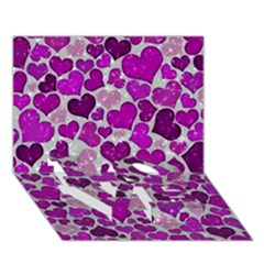 Sparkling Hearts Purple Love Bottom 3d Greeting Card (7x5)
