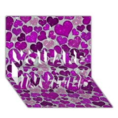 Sparkling Hearts Purple You Are Invited 3d Greeting Card (7x5)
