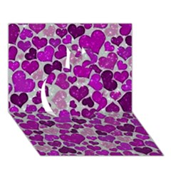 Sparkling Hearts Purple Apple 3D Greeting Card (7x5)