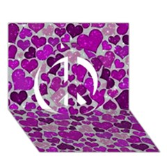 Sparkling Hearts Purple Peace Sign 3D Greeting Card (7x5)