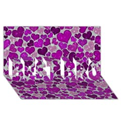 Sparkling Hearts Purple BEST BRO 3D Greeting Card (8x4)