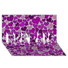 Sparkling Hearts Purple BEST SIS 3D Greeting Card (8x4)