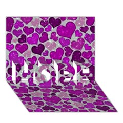 Sparkling Hearts Purple Hope 3d Greeting Card (7x5)