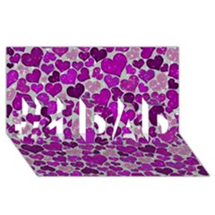 Sparkling Hearts Purple #1 DAD 3D Greeting Card (8x4)