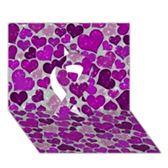 Sparkling Hearts Purple Ribbon 3D Greeting Card (7x5)