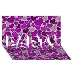 Sparkling Hearts Purple Party 3d Greeting Card (8x4)