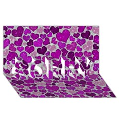 Sparkling Hearts Purple SORRY 3D Greeting Card (8x4)