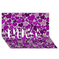 Sparkling Hearts Purple Hugs 3d Greeting Card (8x4)