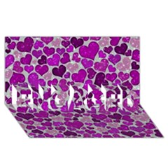 Sparkling Hearts Purple ENGAGED 3D Greeting Card (8x4)