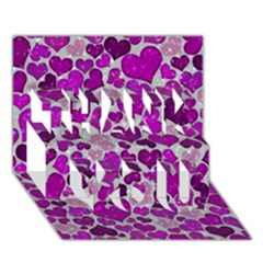 Sparkling Hearts Purple THANK YOU 3D Greeting Card (7x5)
