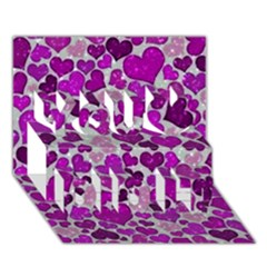 Sparkling Hearts Purple You Did It 3D Greeting Card (7x5)