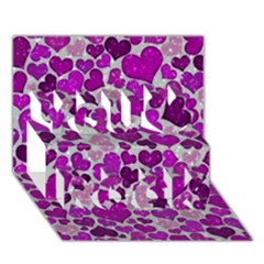 Sparkling Hearts Purple You Rock 3D Greeting Card (7x5)