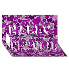 Sparkling Hearts Purple Happy New Year 3D Greeting Card (8x4)