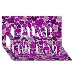 Sparkling Hearts Purple Laugh Live Love 3D Greeting Card (8x4)