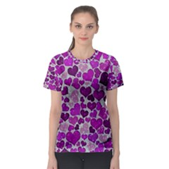 Sparkling Hearts Purple Women s Sport Mesh Tees