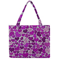 Sparkling Hearts Purple Tiny Tote Bags