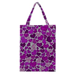 Sparkling Hearts Purple Classic Tote Bags
