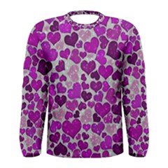 Sparkling Hearts Purple Men s Long Sleeve T-shirts