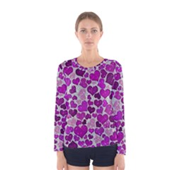 Sparkling Hearts Purple Women s Long Sleeve T-shirts