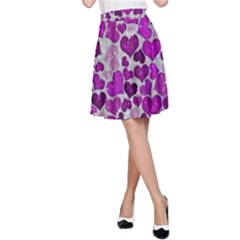 Sparkling Hearts Purple A-Line Skirts