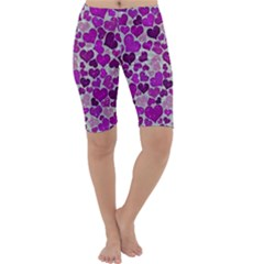 Sparkling Hearts Purple Cropped Leggings