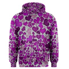 Sparkling Hearts Purple Men s Pullover Hoodies