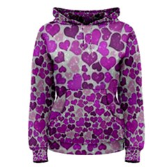 Sparkling Hearts Purple Women s Pullover Hoodies