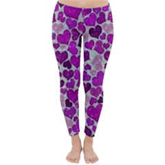 Sparkling Hearts Purple Winter Leggings