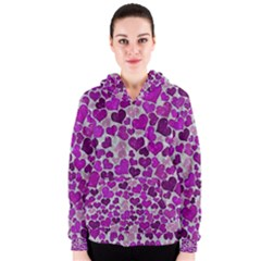 Sparkling Hearts Purple Women s Zipper Hoodies