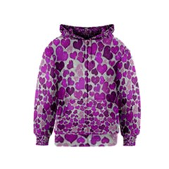 Sparkling Hearts Purple Kids Zipper Hoodies