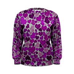 Sparkling Hearts Purple Women s Sweatshirts