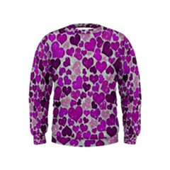 Sparkling Hearts Purple Boys  Sweatshirts