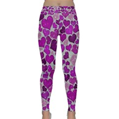Sparkling Hearts Purple Yoga Leggings