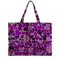 Sparkling Hearts Purple Zipper Tiny Tote Bags