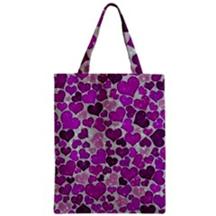 Sparkling Hearts Purple Zipper Classic Tote Bags