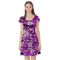 Sparkling Hearts Purple Short Sleeve Skater Dresses