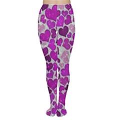 Sparkling Hearts Purple Women s Tights