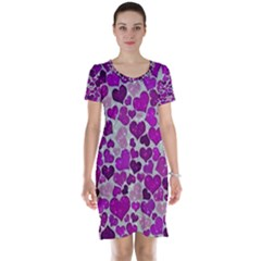 Sparkling Hearts Purple Short Sleeve Nightdresses