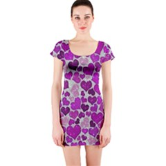 Sparkling Hearts Purple Short Sleeve Bodycon Dresses