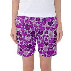 Sparkling Hearts Purple Women s Basketball Shorts
