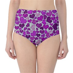 Sparkling Hearts Purple High-Waist Bikini Bottoms